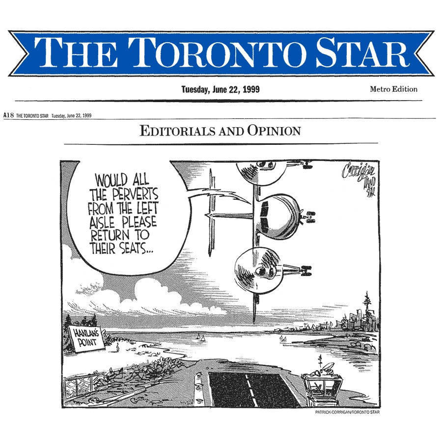 Toronto Star 1999-06-22 p.A18 - Editorial cartoon re Hanlan's Point CO-zone